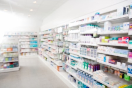 Medicines arranged in shelves at pharmacy