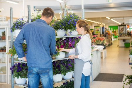 salesgirl: Salesgirl assisting male customer in buying flower plants at store Stock Photo