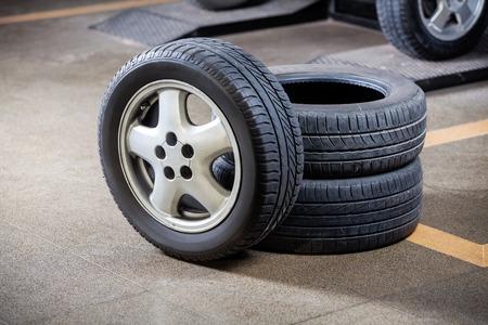 auto repair: Rubber tires at auto repair shop