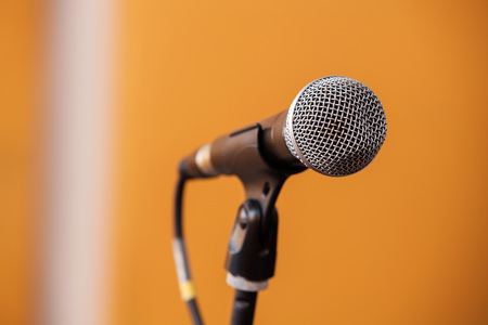 band instruments: Closeup of microphone in recording studio Stock Photo