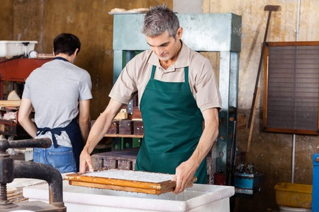 pulpy: Mature male worker dipping mold in pulpy water while coworker working at paper factory
