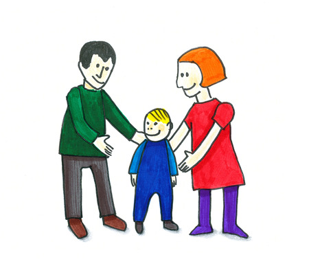 young family: Hand colored illustration of young family Stock Photo
