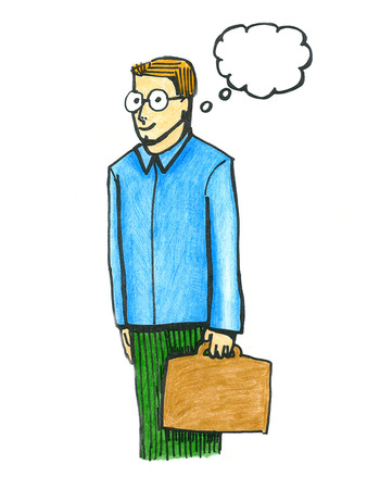 businessman thinking: Business man hand drawn and colored illustration Stock Photo
