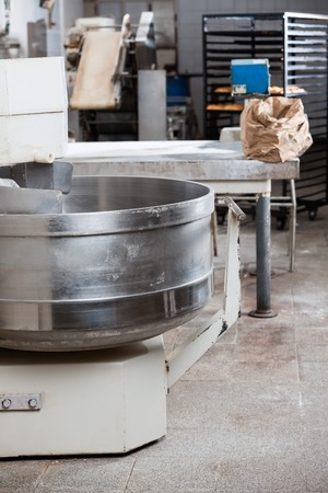 manufacturing equipment: Closeup of bread mixer in bakery