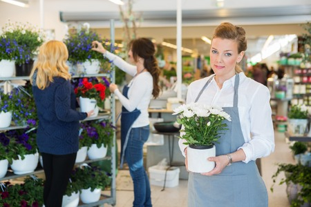 salesgirl: Portrait of salesgirl holding flower pot with colleague assisting customer in background at shop