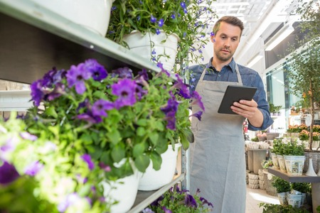 mid adult male: Mid adult male worker using digital tablet while standing by trolley in flower shop