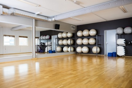 Yoga balls arranged in shelves by mirror at gym