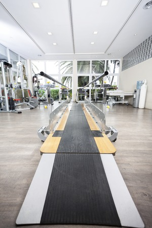 rehab: Walking equipment with bars in fitness studio of rehab center Stock Photo