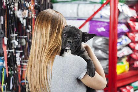 woman shop: Rear view of blond woman carrying French Bulldog at pet store
