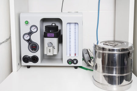 anesthetize: Closeup of anesthesia machine in vet clinic Stock Photo