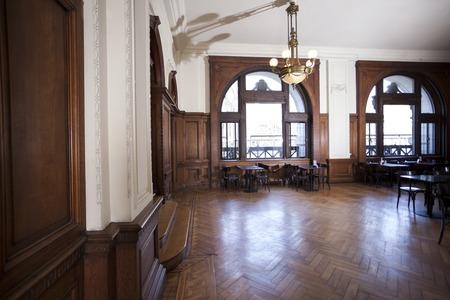 hardwood floor: Empty hardwood floor of restaurant