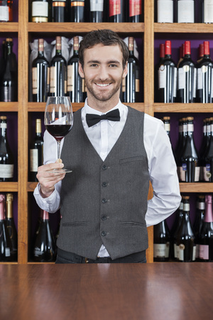 store keeper: Portrait of confident bartender holding red wine glass at counter in winery