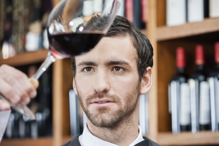 shop keeper: Young bartender examining red wine in glass at winery Stock Photo