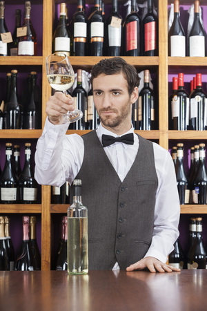 store keeper: Young male bartender examining white wine in glass at shop counter Stock Photo