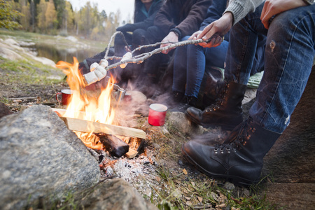 staycation: Friends Roasting Marshmallows Over Campfire At Lakeshore Stock Photo