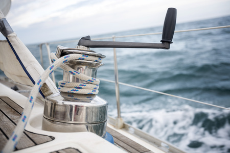 hand crank: Closeup Of Rope On Yacht Winch