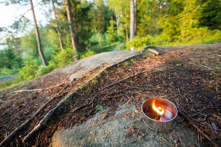Tealight Candle On Rock Against Trees Stock Photo