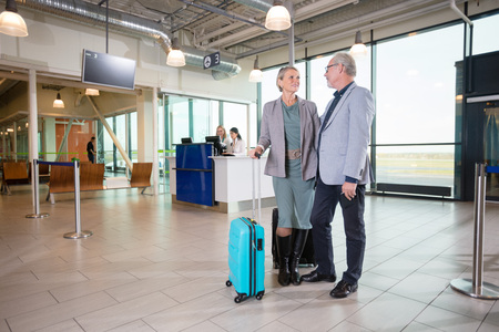 Business Couple With Luggage Standing In Airport
