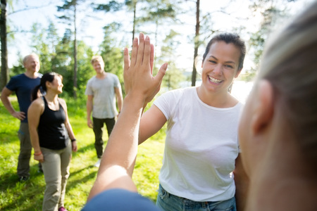 Frauen, die Hoch-Fünf während Freunde stehen, die am Wald stehen