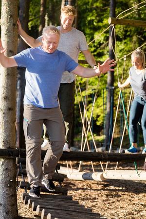 Ponte di ceppo dell'incrocio dei colleghe di uomo d'affari in foresta