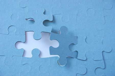 Jigsaw puzzle with pieces angled in there places Stock Photo - 310408
