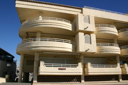 architectural tradition: modern apartment block with large balconies