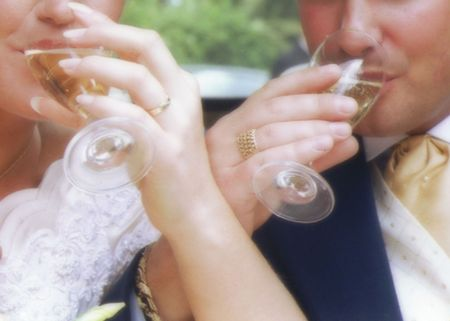 couple toasting with champagne photo