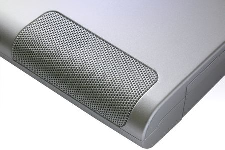 microcomputer: speaker of a laptop isolated over a white background Stock Photo
