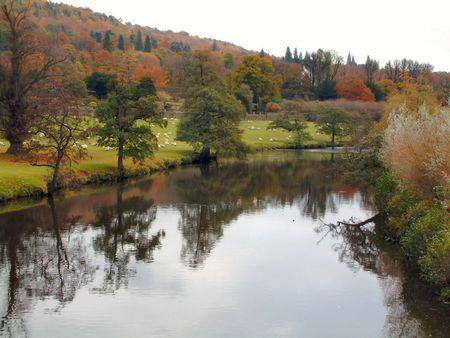river scene in derbyshire uk