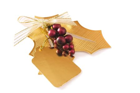 golden holly leaf gift tag Stock Photo