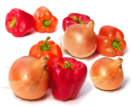 sumptious: onions and peppers over a white background Stock Photo