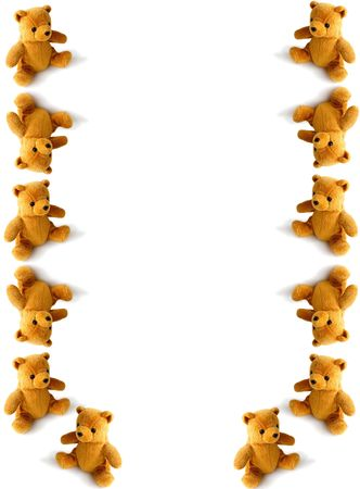 teddies tumbling down the page Stock Photo