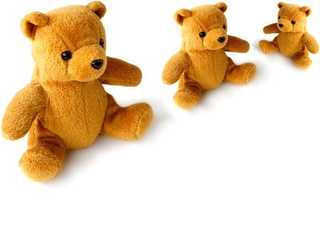 teddy bear family over a white background Stock Photo