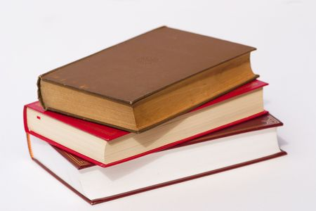 pile of three books over a white background Stock Photo - 326042