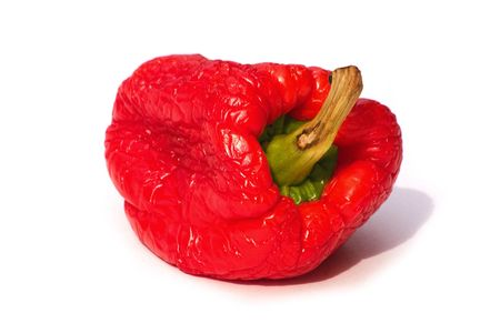 sumptious: withered red bell pepper over a white background