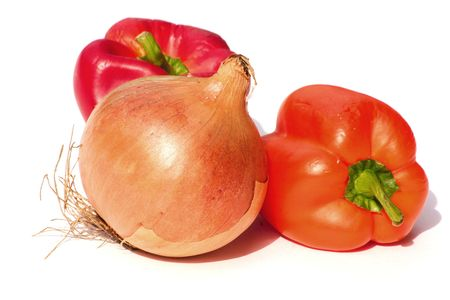 sumptious: large onion with bell peppers over a white background Stock Photo