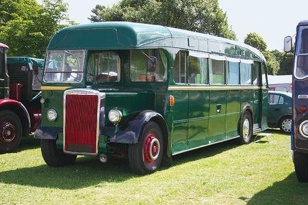 green vintage single decker bus Stock Photo - 325856