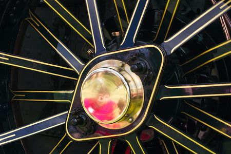 traction engine: details of the centre of a traction engine wheel Stock Photo