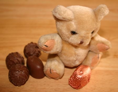 favourite: this teddy is surrounded by his favourite chocolates