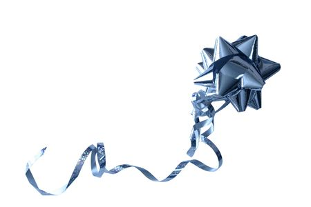 a blue foil bow isolated over a white background
