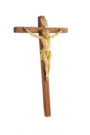 inri: christ on a cross isolated over a white background