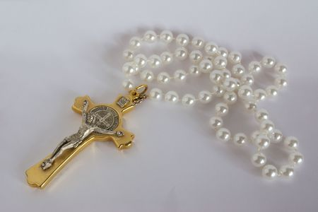 crucifix and pearl bead rosary photo