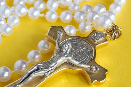 inri: crucifix and bead rosary