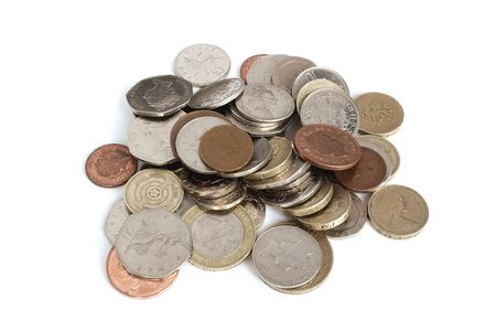 loose change over a white background Stock Photo