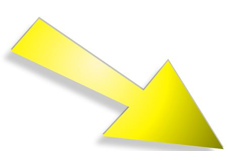 downwards: yellow arrow pointing downwards over a white background
