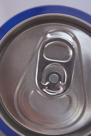 unopen: ring pull on the top of an unopen can Stock Photo