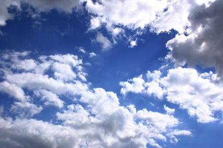 cottonwool: blue sky and fluffy clouds Stock Photo