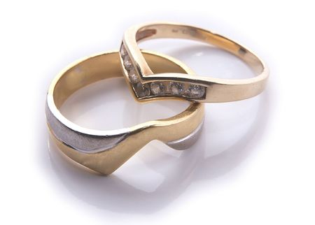 wedding rings overlapping Stock Photo