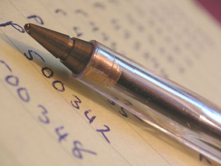 poems: pen on notes Stock Photo