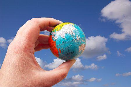 globe held to sky